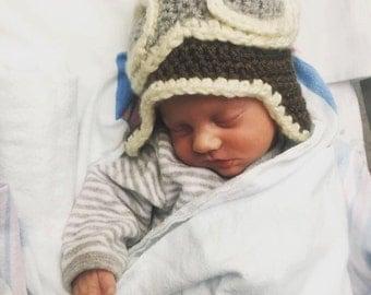 Baby Crochet Aviator Hat Multiple Sizes