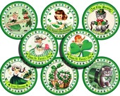 St. Patricks Day Retro Round Gift Tags St Patricks Bookmarkers Party Favors Vintage Inspired - Set of 8 Irish Party Tags St. Patricks Decor