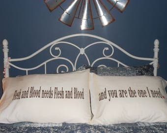 "NEW ITEM! - Couples Pillowcases - ""Flesh and Blood"""