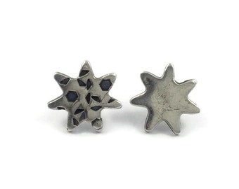 Starburst Earrings, Star Studs, Mismatched Studs, Fine Jewelry