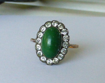 Antique European 9ct Solid gold and sterling jasper or turquoise paste halo ring 5-5.25