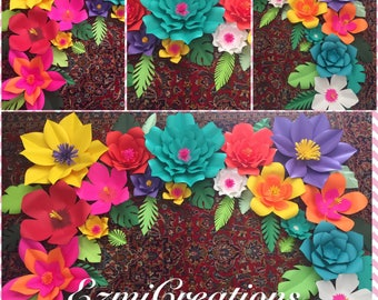 Paper flowers tropical DIY kit