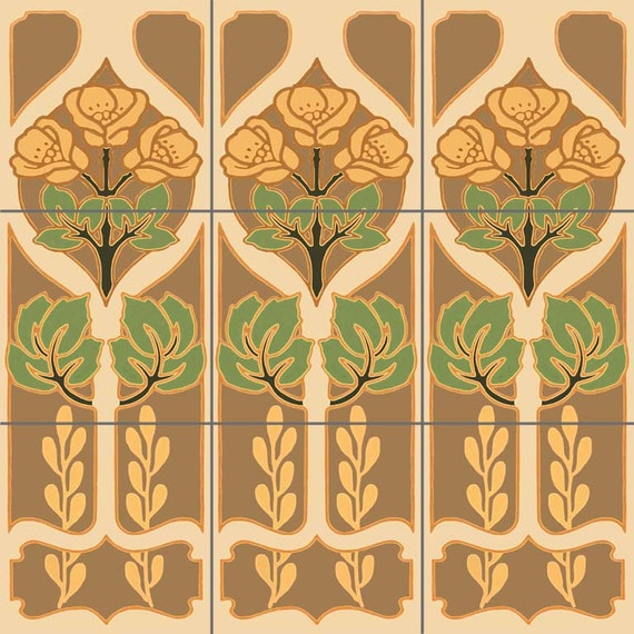 Deco panels decorative tile mural ceramic back splash artistic for Art deco tile mural