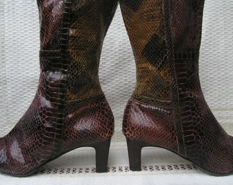 Vintage faux snake skin leather boots, size 38 (EUR), 7.5 (US)