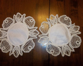 2 EXTRAORDINARY Antique BATTENBURG Lace DOILIES Handmade...Lace Collector..Linen Center...Free Shipping