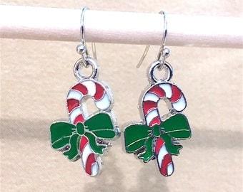 Candy Cane Christmas Charm Handcrafted Dangle Earrings, Red, Green & White Enameled Handmade Original Christmas Character Earrings, Festive