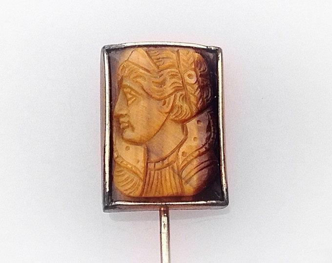 Antique Carved Roman Pin, Carved Tigereye Pin, Carved Stick Pin, Cameo Pin, Victorian Pin, Carved Stone. Cameo Hat Pin. Greek Pin
