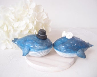 Love Forever Wedding Cake Toppers - blue whale with base