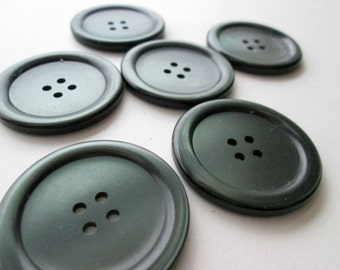 Dark Forest Green Sew Through Buttons, Set of Six Large Round Plastic Buttons, 1.25 Inch 3 CM 30 MM Buttons, Pearlescent Buttons