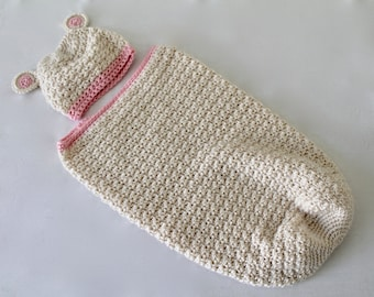 Baby - Crochet Baby Teddy Bear Cocoon - Cream and Pink - Baby Swaddle - Baby Photo Prop