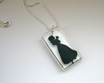 Snow White Papercut Resin Pendant • Fairytale Necklace • Paper Cut Jewellery
