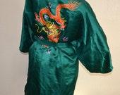 Vintage emerald green embroidered Dragon Oriental Silk ESMO Dress Kimono Japanese style robe Dragon Print Wedding Art Nouveau dressing gown