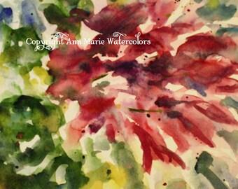 Flower burst, watercolor