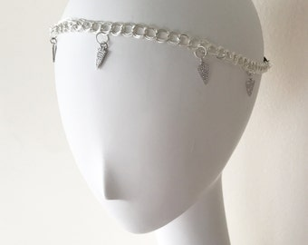 Silver Crystal Charm Chain Headpiece, for Bridal, weddings, parties, evening, cocktail, special occasions