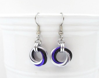 Asexual pride earrings, ace pride jewelry, chainmail love knot earrings; black gray white purple