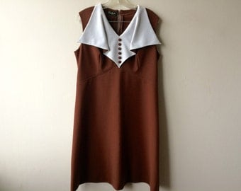 Vintage Chocolate Brown Shift Dress
