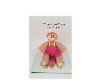 Polymer clay summer bear sundress figurine collectable OOAK