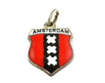 Vintage Sterling Silver Shield Charm - Amsterdam Netherlands
