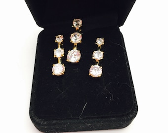Clear CZ Set, Vintage Pendant and Earrings, Gold Tone, In Original Box, Clrarance Sale, Item No. B722