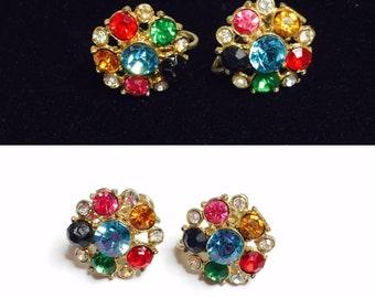 Vintage CORO Flower Screw On Earrings,  multicolor rhinestones, gold Tone, Vintage Fine Jewelry, Item No. B249