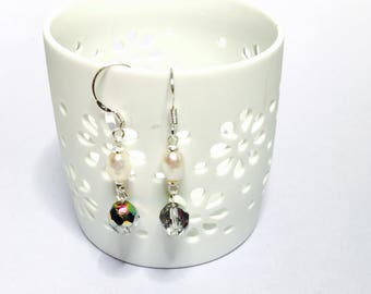 Clear crystal silver earrings, rice pearl, HAND MADE, Clearance Sale, item No S052