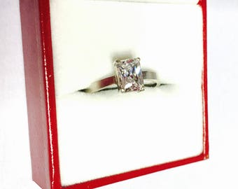 Vintage solitaire CZ Ring Size 7., Sterling Silver, Clear Rectangle Stone, Clearance SALE, Item No. S410