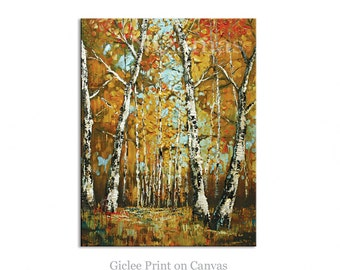 Wall Art Aspen Trees Landscape Giclee PRINT on Canvas Gift Modern Home Decor ready to hang