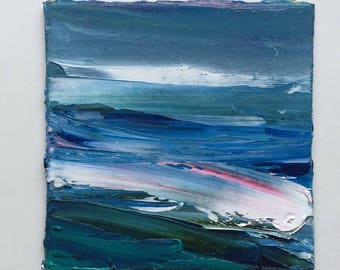"""Small Abstract waterscape Oil Painting, 4"""" x 4"""", fine art"""