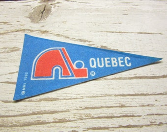 Vintage VERY SMALL Mini Hockey Pennant Quebec Nordiques Felt Pennant Flag vtg NHL 1992 Sports Collectible Sports Decor Man Cave Gift