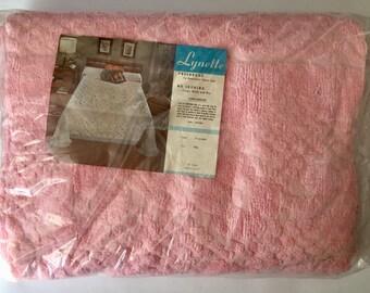 Vintage 1960s New Old Stock NIP Pink Lynette Chenille Bedspread Full Size