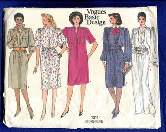 Vintage 1980's Vogue 1311 Retro Straight Shirt Dresses with Strong Shoulders Size 8..10..12