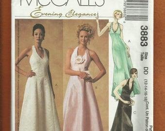 15% OFF SPRING SALE McCalls 3883 Princess Seam Halter Evening Dresses Sizes 12 to 18 Uncut