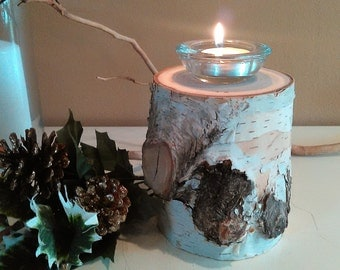 Large Birch candle holder - Holiday candle - Christmas candle - Birch logs - Wood candle