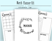 March Monthly Layout PDF in A4, A5, and Letter- Bullet Journal Printable Template - Mushroom Theme- Coloring Page