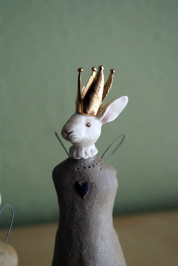 rabbit queen fairy vase - ceramic rabbit sculpture - natural hand-built - queen of hearts