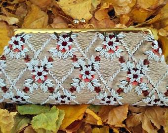 Vintage 1950s Floral Beaded Handbag Evening Bag Clutch Purse Wedding Prom Opera