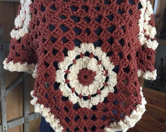 Rust Colored Hand Crocheted Poncho