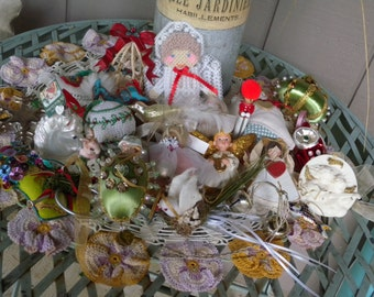 A Christmas Box of Vintage Trimming of Both Traditional and Handmade Ornaments // Vintage Decor// Christmas Accents// Holiday Decorating