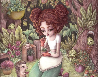 Moonlight Harvest - A3 Limited Edition Fine Art Print - Inspired by Magical Girls, Animal Friends and Fairy Gardens