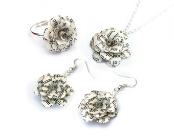 Book Jewellery Gift Set - Book flowers, book necklace, ring, earrings gift set; upcycled book - matching set