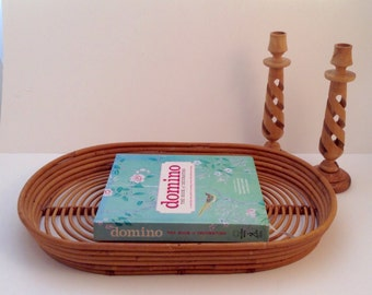 Vintage Franco Albini Style Oval Rattan Serving Tray