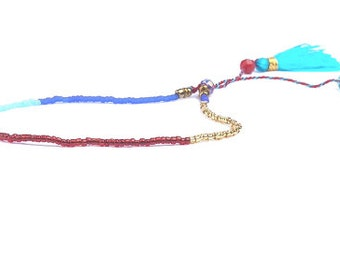 Curvy KINK Blue Gold Red and Turquoise bohemian tassel bracelet. Jewelry. Raunchy card. Where have you been all my life?