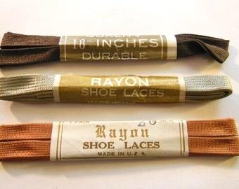 Vintage 1930s Shiny Rayon Shoe Laces, 3 Pairs, Shiney Shoes say Shine