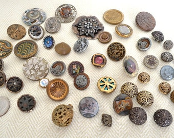 Antique Metal Buttons, Lot of 48