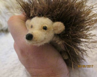 "needle felt hedgehog super charmer 5"" x 2-1/2"" life sized READY to SHIP!"