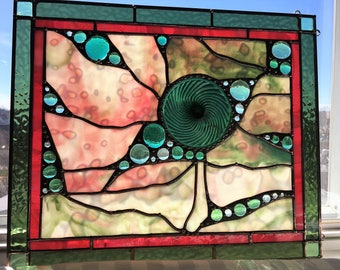 Stained Glass Art Panel|Green|Sage Green|Cranberry|OOAK|Abstract|Modern|Art and Collectibles|Glass Art|Handcrafted|Made in America
