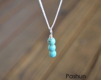 Seashell Jewelry ...Turquoise Stacked Beads Necklace (1446)