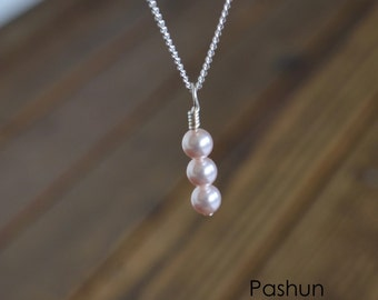 Seashell Jewelry ... Pink Pearl Stacked Beads Necklace (1451)