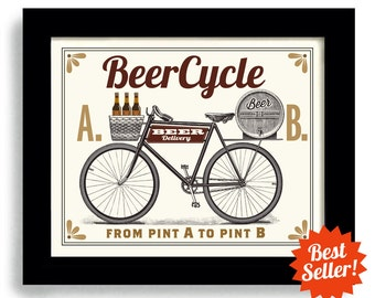 Beer Bar Sign Bicycle Cycling Pub Decoration Kitchen Picture Men's Gift for Him Drink Ale Home Art Print Man Cave Lager Artwork Biking Art