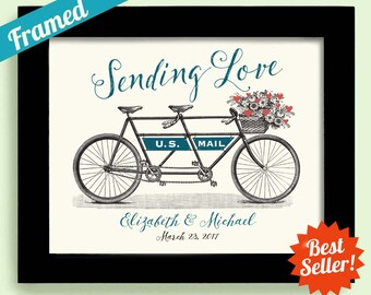 Sending Love Tandem Bicycle Personalized Wedding Gift Anniversary Gift Couples Gift Bridal Shower Love Letters Newlyweds Gift Hearts Flowers